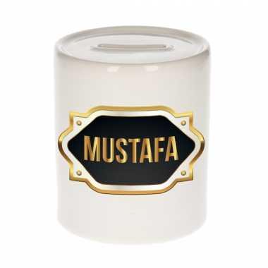 Naam cadeau spaarpot mustafa met gouden embleem