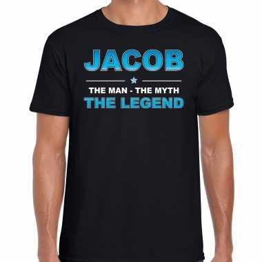 Naam cadeau t-shirt jacob - the legend zwart voor heren