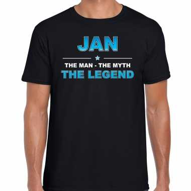 Naam cadeau t-shirt jan - the legend zwart voor heren