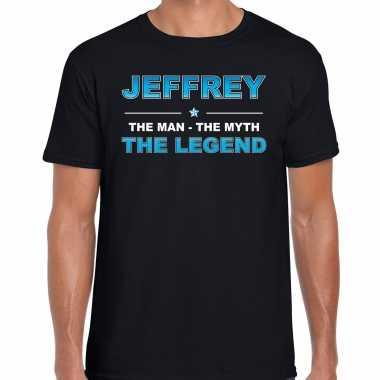 Naam cadeau t-shirt jeffrey - the legend zwart voor heren