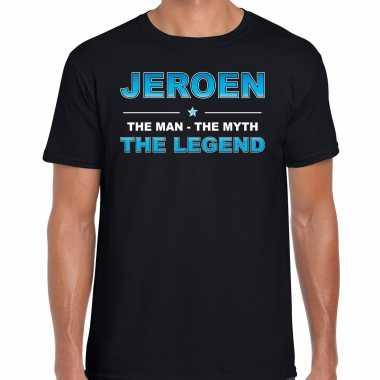 Naam cadeau t-shirt jeroen - the legend zwart voor heren