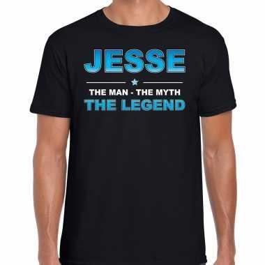 Naam cadeau t-shirt jesse - the legend zwart voor heren