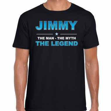 Naam cadeau t-shirt jimmy - the legend zwart voor heren