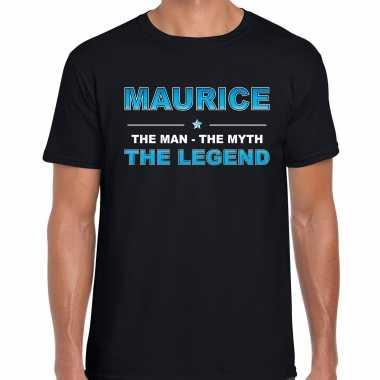 Naam cadeau t-shirt maurice - the legend zwart voor heren