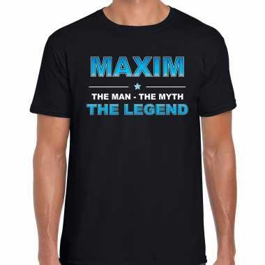 Naam cadeau t-shirt maxim - the legend zwart voor heren