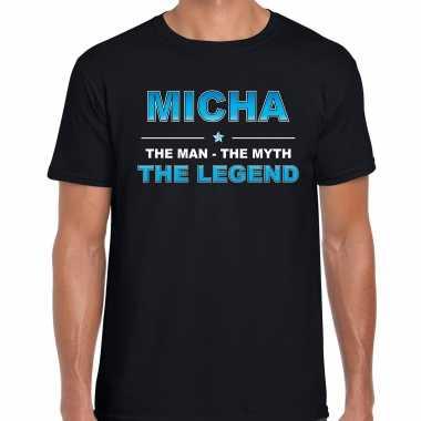 Naam cadeau t-shirt micha - the legend zwart voor heren