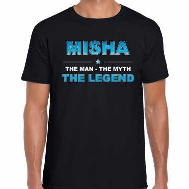 Naam cadeau t-shirt misha - the legend zwart voor heren