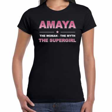 Naam cadeau t-shirt / shirt amaya - the supergirl zwart voor dames
