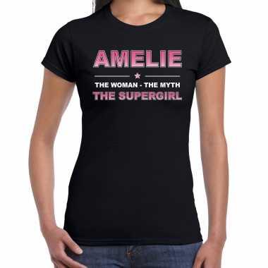 Naam cadeau t-shirt / shirt amelie - the supergirl zwart voor dames