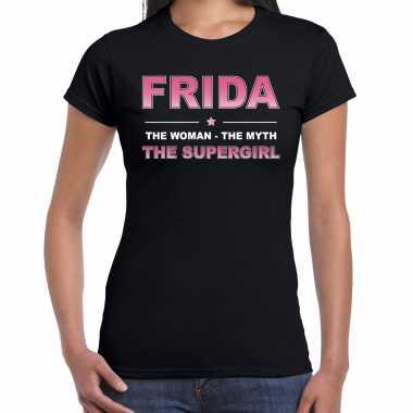 Naam cadeau t-shirt / shirt frida - the supergirl zwart voor dames