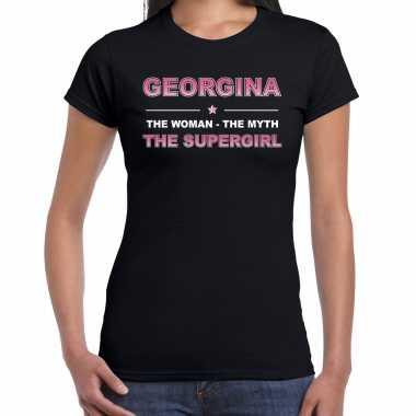 Naam cadeau t-shirt / shirt georgina - the supergirl zwart voor dames