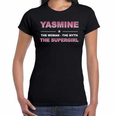 Naam cadeau t-shirt / shirt yasmine - the supergirl zwart voor dames