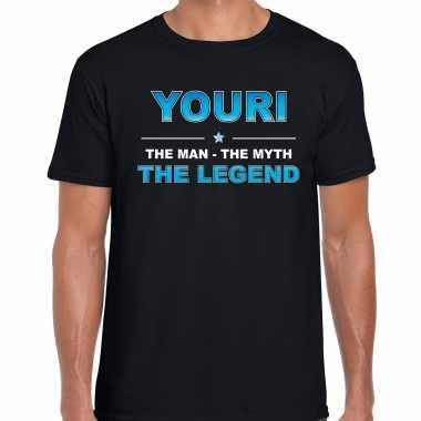 Naam cadeau t-shirt youri - the legend zwart voor heren