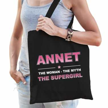 Naam cadeau tas annet - the supergirl zwart voor dames