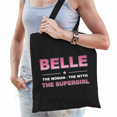 Naam cadeau tas belle - the supergirl zwart voor dames