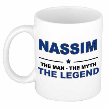 Nassim the man, the myth the legend cadeau koffie mok / thee beker 300 ml
