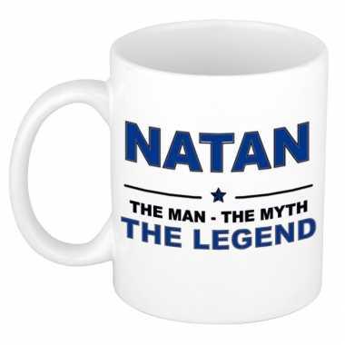 Natan the man, the myth the legend cadeau koffie mok / thee beker 300 ml
