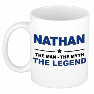 Nathan the man, the myth the legend cadeau koffie mok / thee beker 300 ml