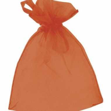 Oranje organza zakjes 6 stuks