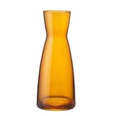 Oranje zandloper vaas glas 20 cm