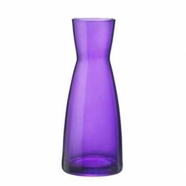 Paarse zandloper vaas glas 20 cm