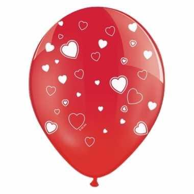 Rode ballonnen met hartjes 12x stuks