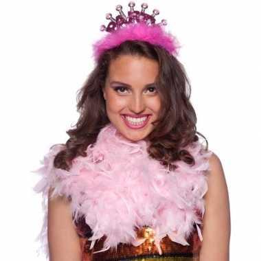 Roze party tiara met led voor volwassenen