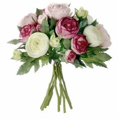 Roze ranunculus/ranonkel kunstbloemen boeket 22 cm
