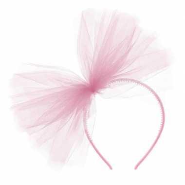 Roze verkleed diadeem met tule strik voor dames