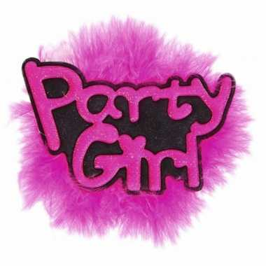 Roze vrijgezellen broche party girl
