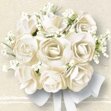 Servetten met witte rozen 20 stuks