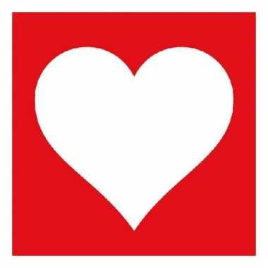 Servetten rood met wit hart 20 stuks