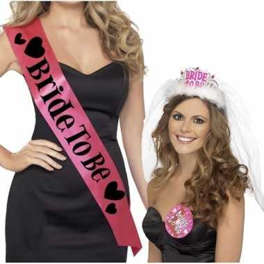 Set roze bride to be vrijgezellenfeest sjerpen tiara met sluier