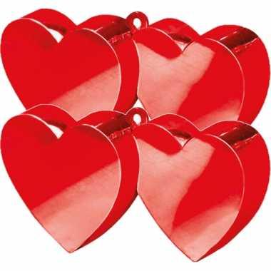 Set van 4x stuks ballon gewichtje rode hartjes stijl