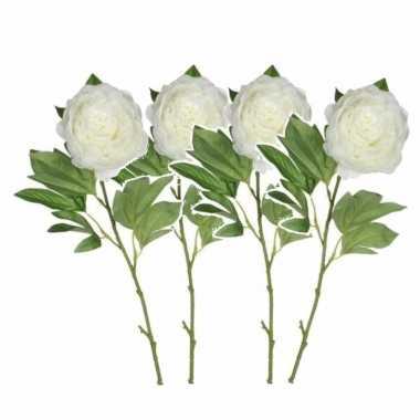 Set van 4x stuks creme witte pioenroos/rozen kunstbloemen 76 cm