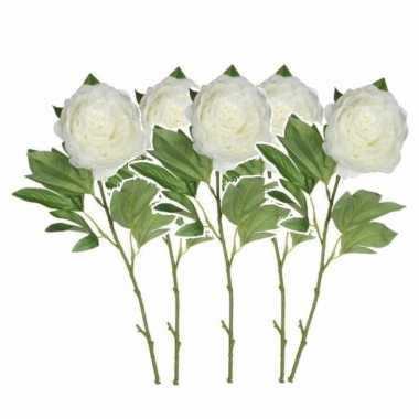 Set van 5x stuks creme witte pioenroos/rozen kunstbloemen 76 cm