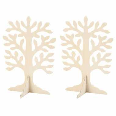 Set van 8x stuks houten boompje 30 x 21,5 cm
