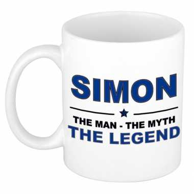 Simon the man, the myth the legend cadeau koffie mok / thee beker 300 ml