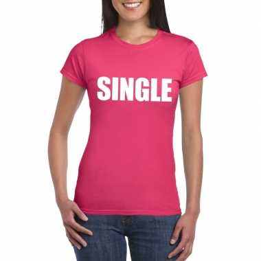 Single/ vrijgezel tekst t-shirt roze dames