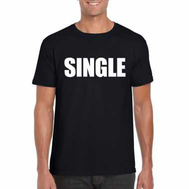 Single vrijgezel tekst t-shirt zwart heren