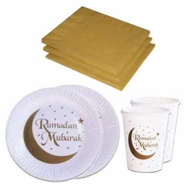 Tafel dekken ramadan mubarak feestartikelen wit/goud 16x bordjes/16x drink bekers/20x servetten