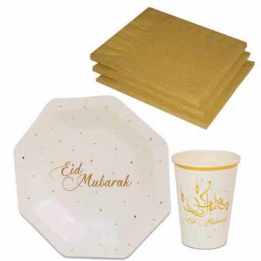 Tafel dekken ramadan mubarak feestartikelen wit/goud 8x bordjes/8x drink bekers/20x servetten