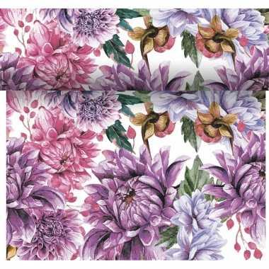 Tafelloper 3-in-1 met bloemen print 4,80 meter
