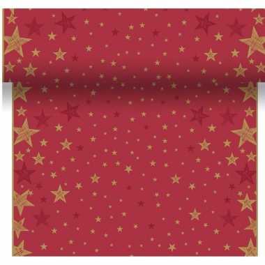 Tafelloper kerstprint star red
