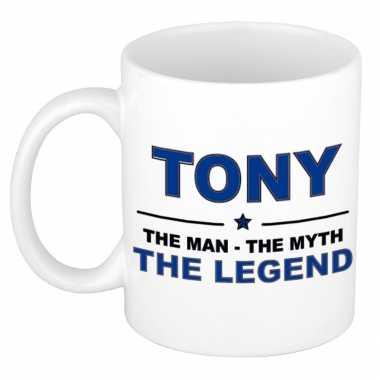 Tony the man, the myth the legend cadeau koffie mok / thee beker 300 ml