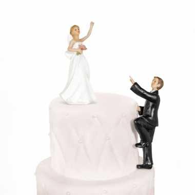 Trouwfiguurtje klimmende bruidegom 14 cm