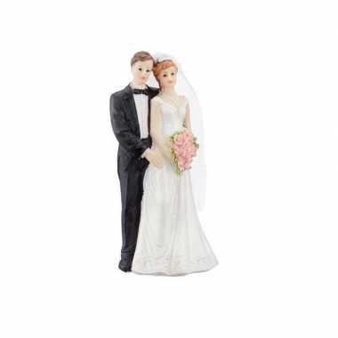 Trouwfiguurtjes bruidspaar romantisch taart decoratie 15cm