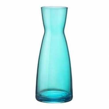 Turquoise zandloper vaas glas 20 cm
