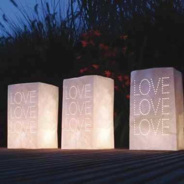 Valentijn - 10x stuks candle bags set love thema 26 cm