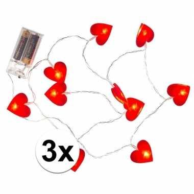 Valentijn - 3x rode hartjes lichtsnoer 120 cm